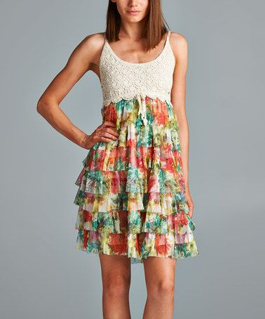 Another great find on #zulily! Blue & Coral Floral Ruffle Sleeveless Dress #zulilyfinds