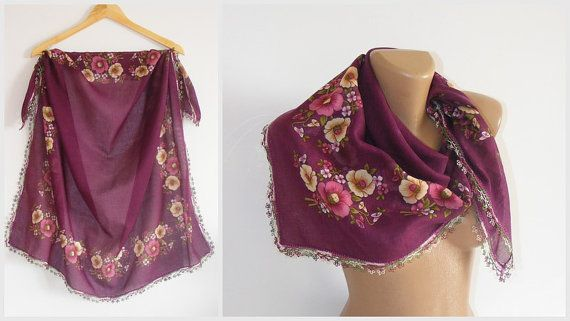 purple square scarfmulticolor scarfwith by seno on Etsy, $25.00