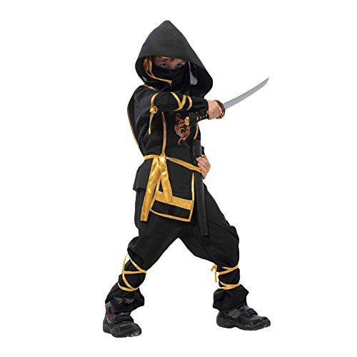 Boys Ninja Assassin Black Red Fancy Dress Up Party Costume Halloween Outfit
