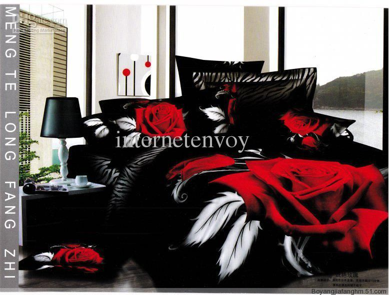 hot sale bed set sexy rose flower bedding home textile cotton fabric queen duvet cover flat sheet bedspread coverlet comforter sets 45 pcs