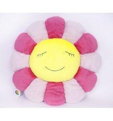 Takashi MURAKAMI - Flower Cushion/Pink & Yellow/ 1m Coussin en peluche rose et jaune 100% Polyester 1 mètre de diamètre / 39 Inches in diameter