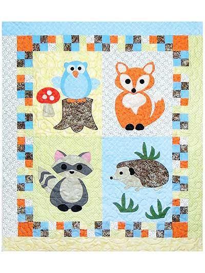 Kinder Quilt Patronen.Applique Baby Quilt Downloads Woodland Babies Quilt