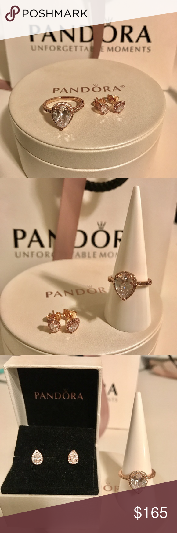 eadf6d248 Pandora Rose Radiant Teardrop Ring & Earrings Set Pandora Rose Radiant  Teardrop Ring &
