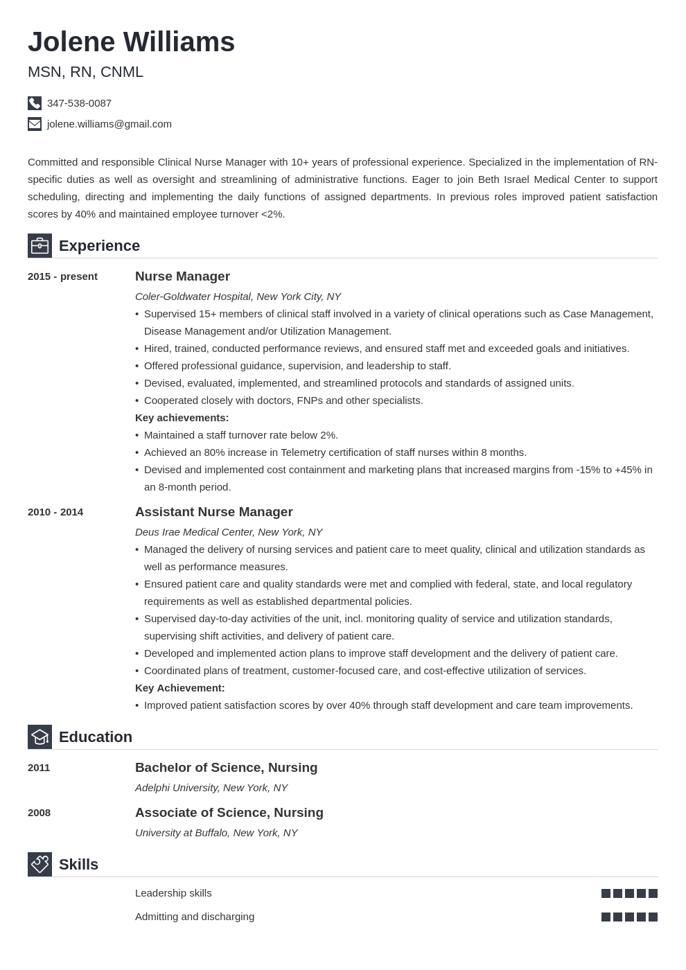 nurse manager resume example template iconic in 2020