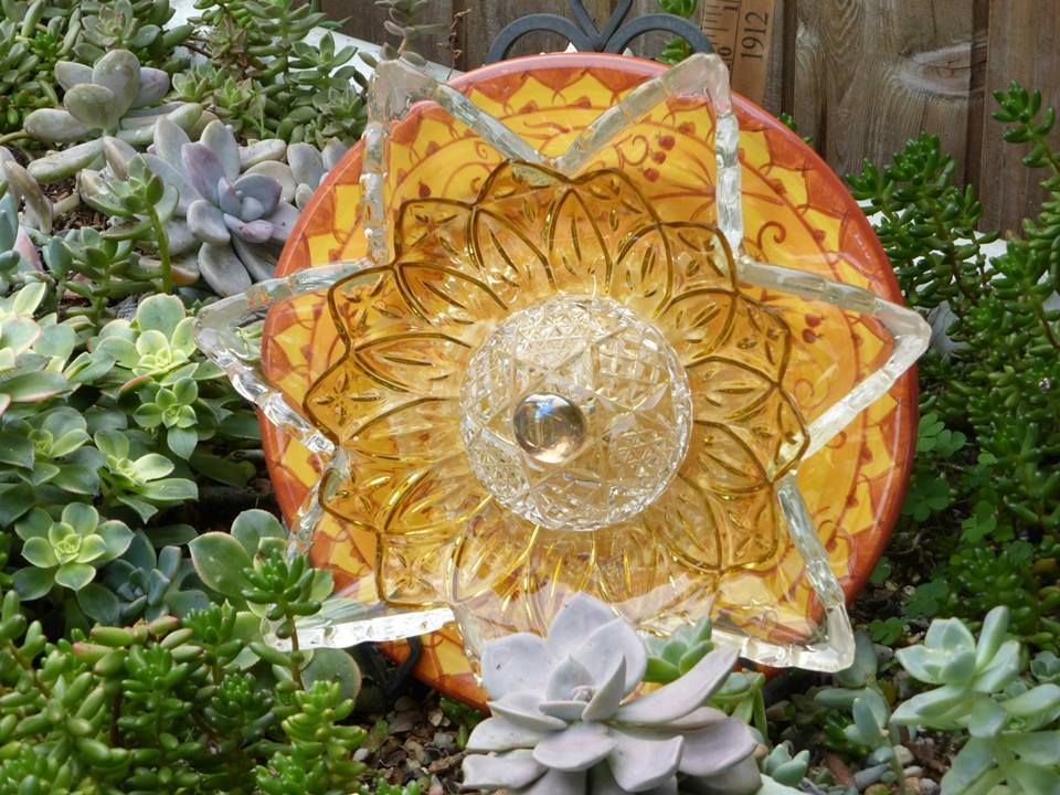 Plate Flowers. #302  Drought Resistant.        Garden Yard Art glass and ceramic plate flower