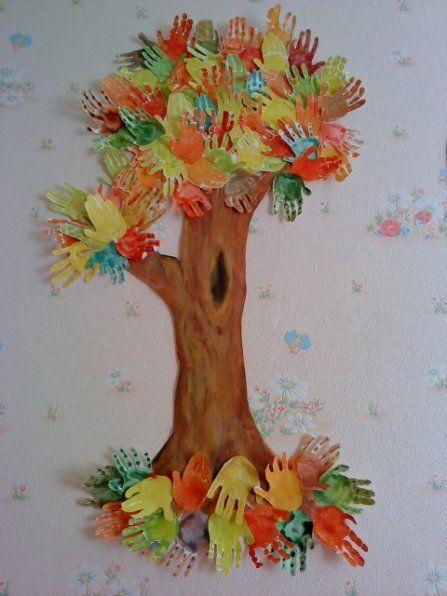 """Аппликация """"Осеннее дерево"""" с листьями в виде ладошек из ..."""