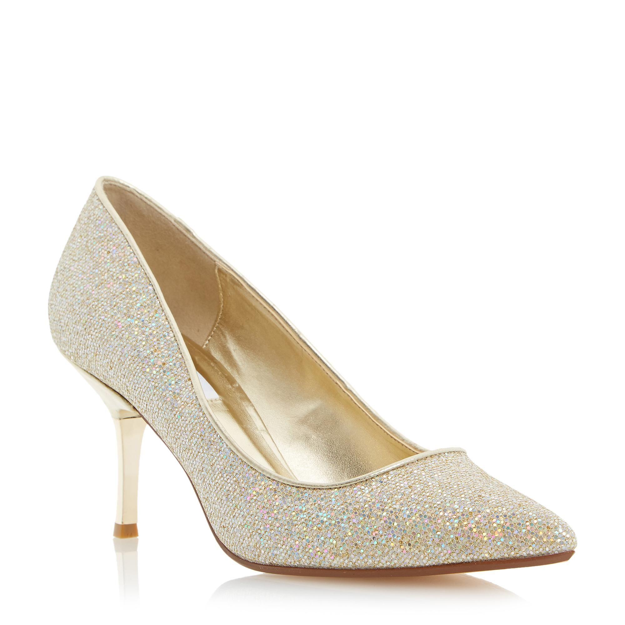Jewel Trim Suede Flat Shoe - Gold lurex Dune London vSiajiep