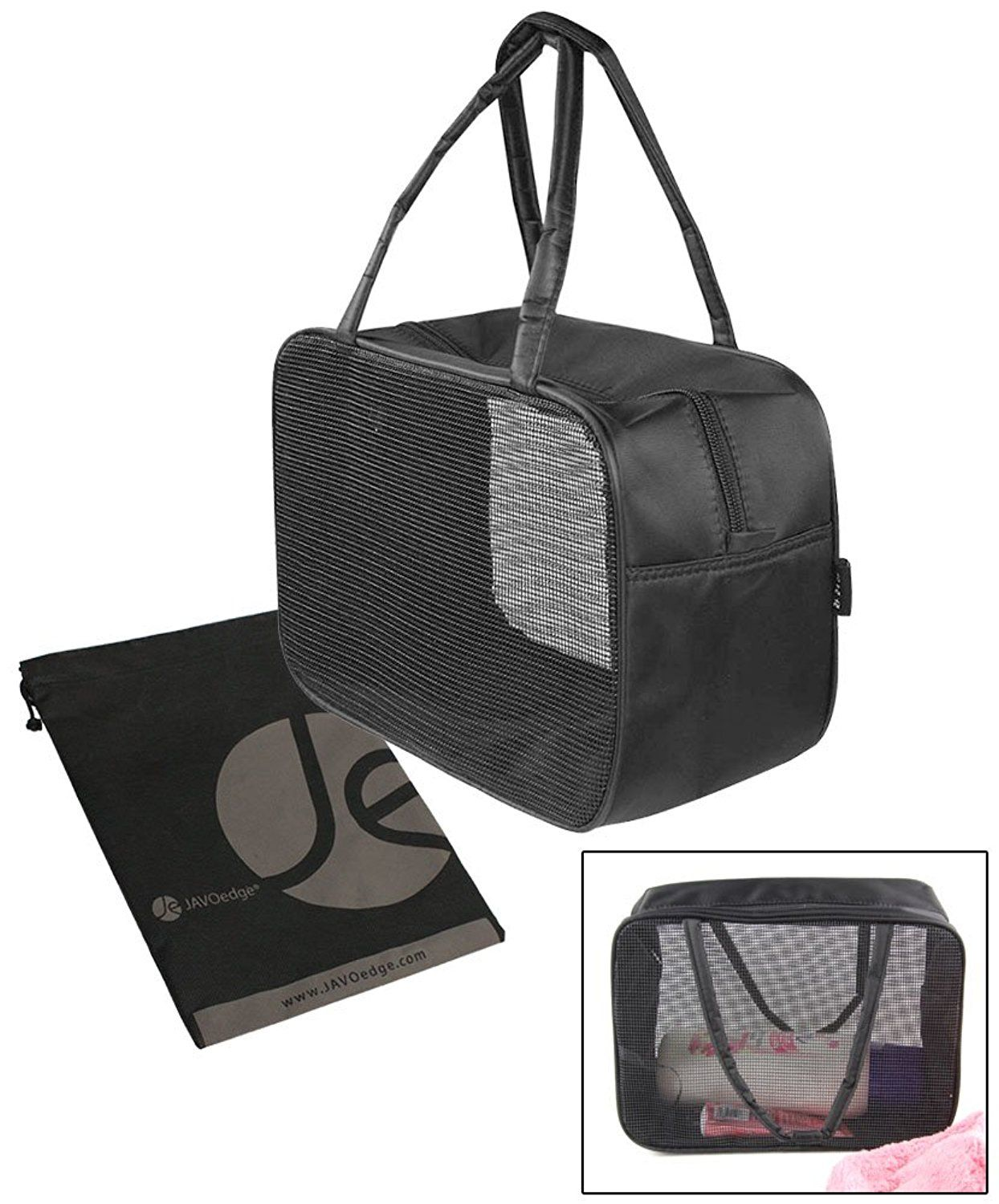 JAVOedge Black Mesh Toiletry   Cosmetic Travel Storage Bag with Handle and  Zipper Closure     Click on the image for additional details. e661e6119e