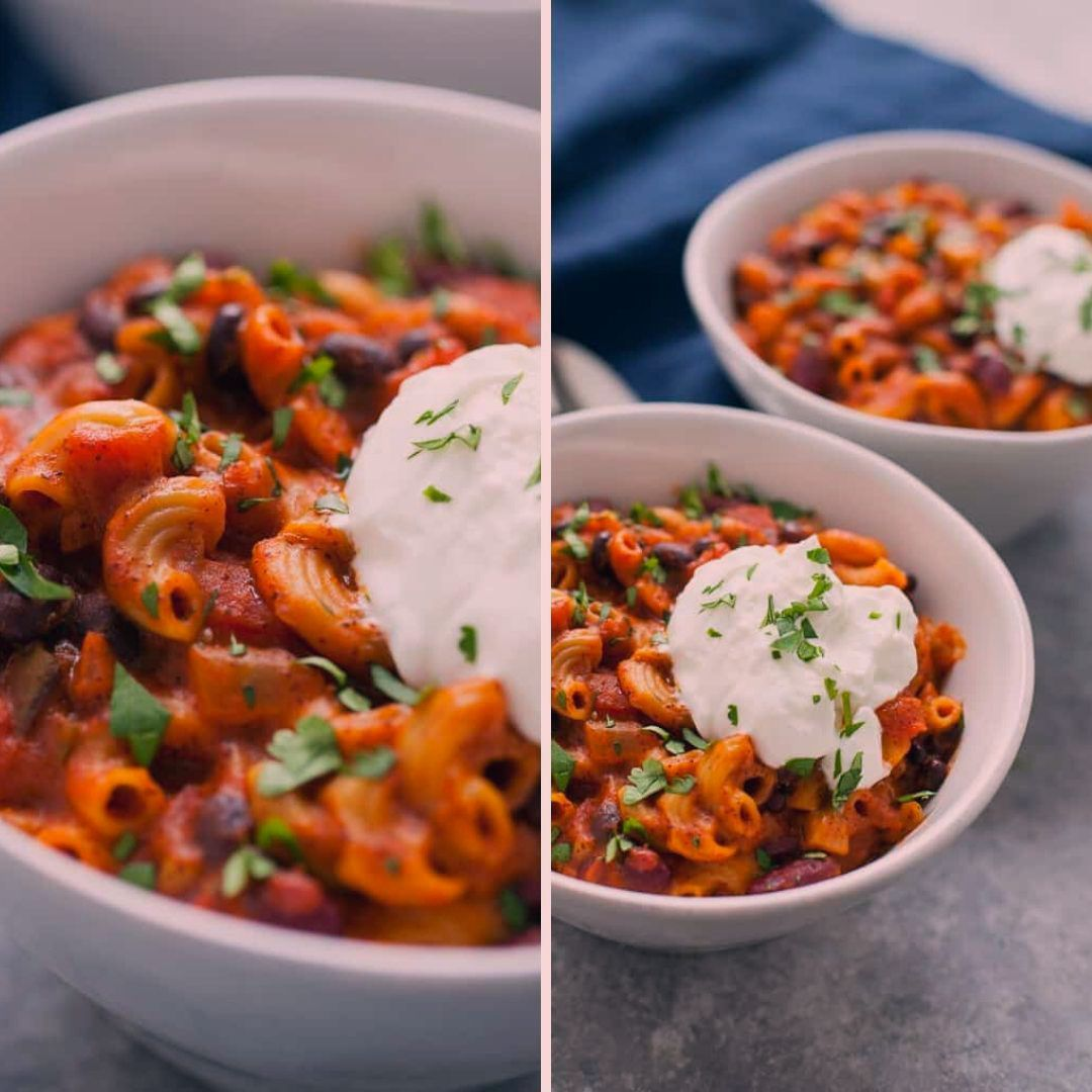 Ultra Hearty And Satisfying This Easy Instant Pot Vegetarian Chili Mac Is The Perfect Recipe To In 2020 Vegetarian Chili Chili Mac Recipe Vegetarian Chili Mac Recipe