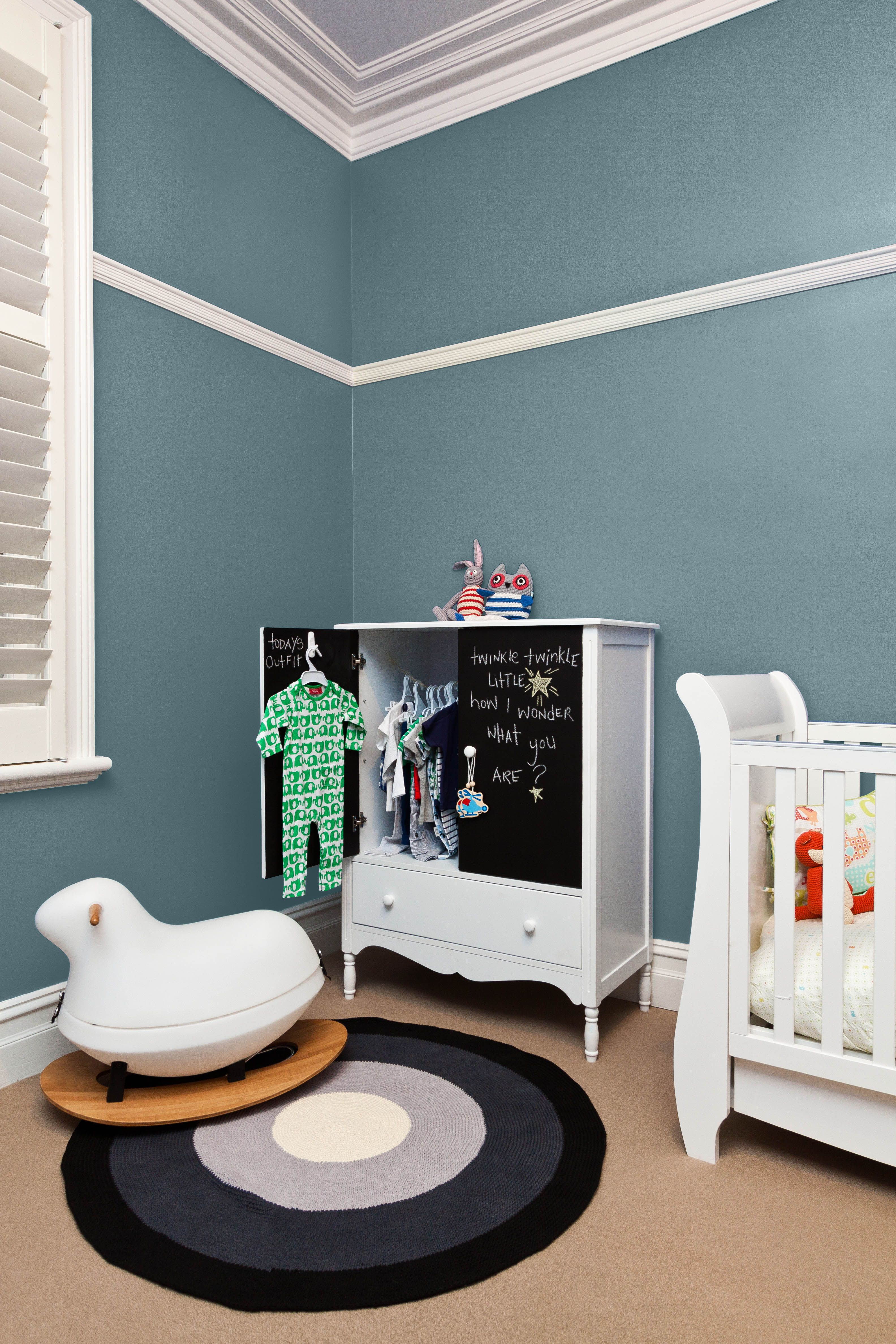 This Nursery Looks Fresh In Silver Mink Blue Painted