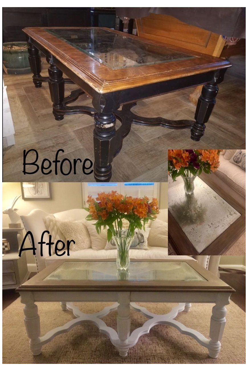 Glass Insert Coffee Table Makeover Thrift Store Coffee Table Makeover Driftwood Cha Coffee Table Upcycle Coffee Table Makeover Refurbished Coffee Tables [ 1303 x 870 Pixel ]