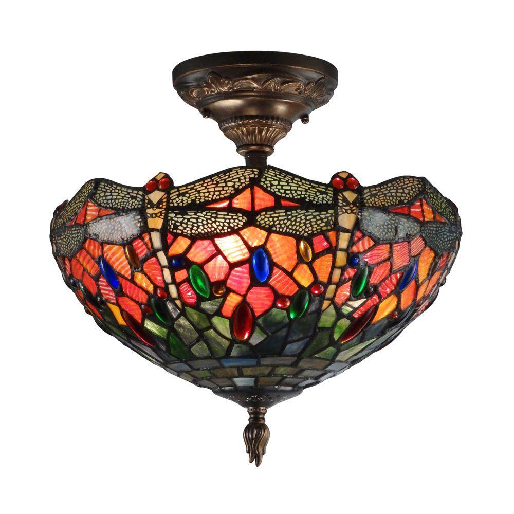 Dale Tiffany Sonota 3 Light Dark Antique Brass Semi Flush Mount Light With Art Glas Flush Mount Lighting Stained Glass Ceiling Lights Semi Flush Mount Lighting
