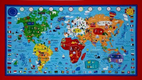 An adorable what a wonderful world map fabric panel ebay diy an adorable what a wonderful world map fabric panel ebay gumiabroncs Image collections