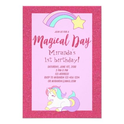 Unicorn magic girly birthday party invitation card unicorn magic girly birthday party invitation card birthday invitations stopboris Images
