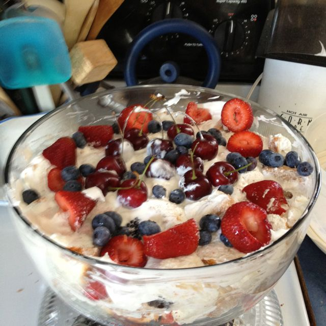 3 layer fruit salad Angel food cake Cool whip Your choice ...
