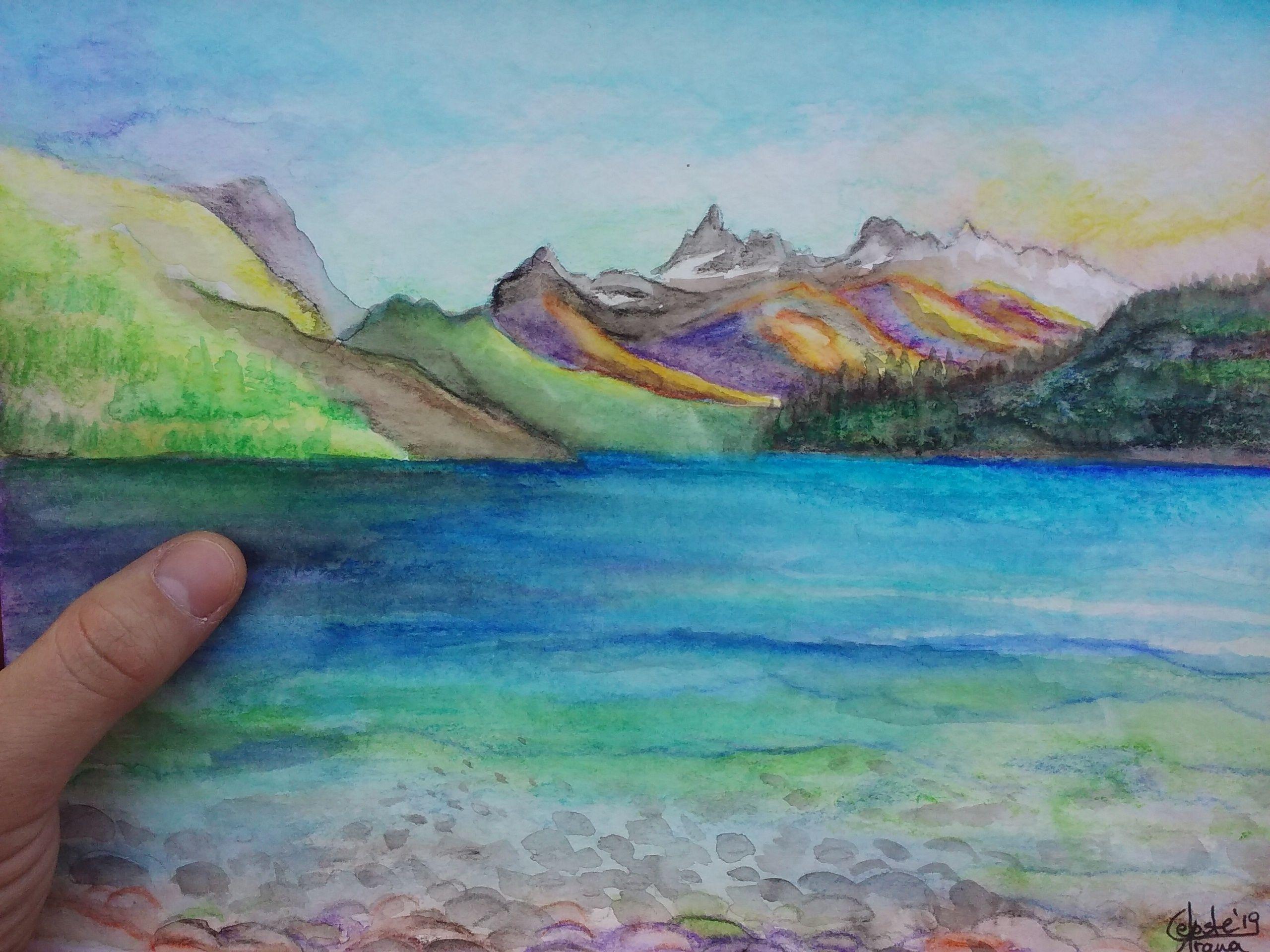 Lapices Acuarelables Paisaje De Lago Puelo Provincia De Chubut Argentina Lapices De Acuarela Tabla Periodica De Los Elementos Quimicos Pinturas