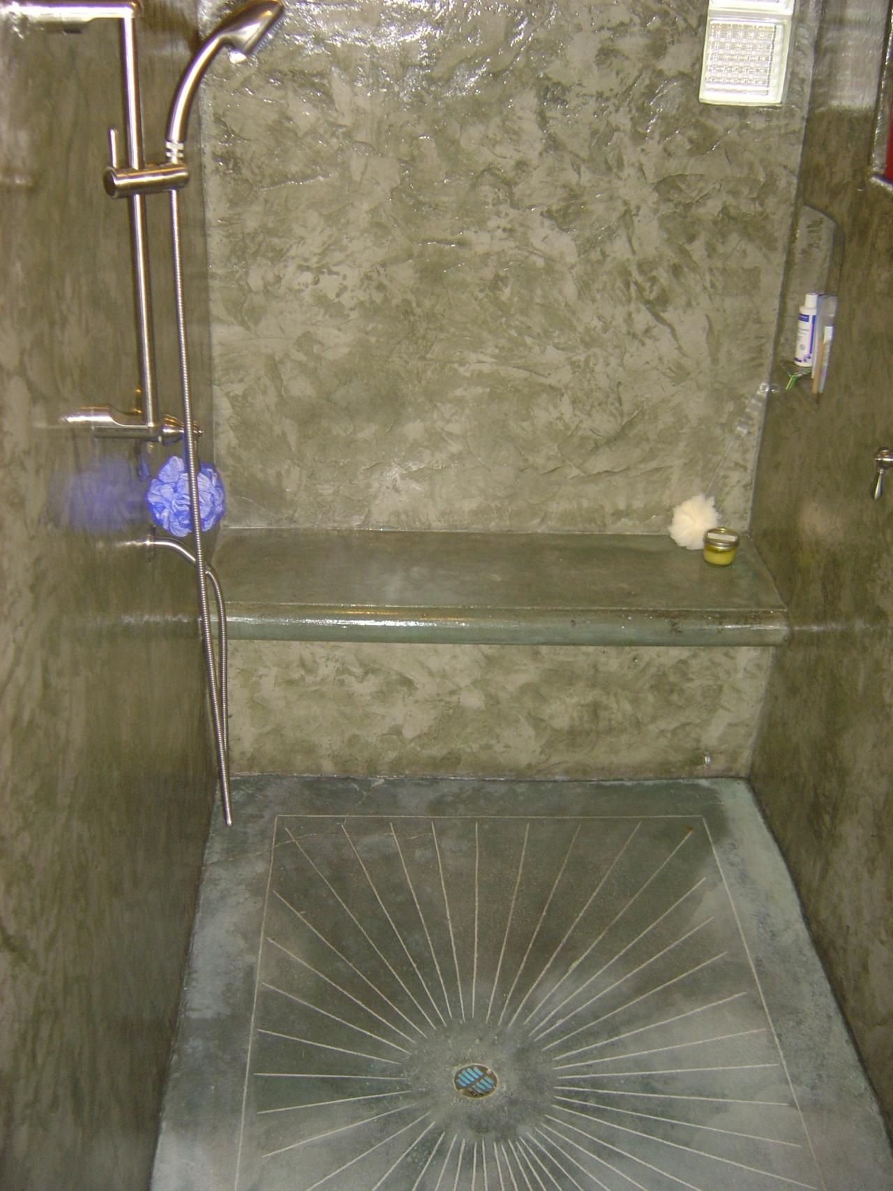 Cement shower the american edge inc concrete showers for Concrete bathroom floor