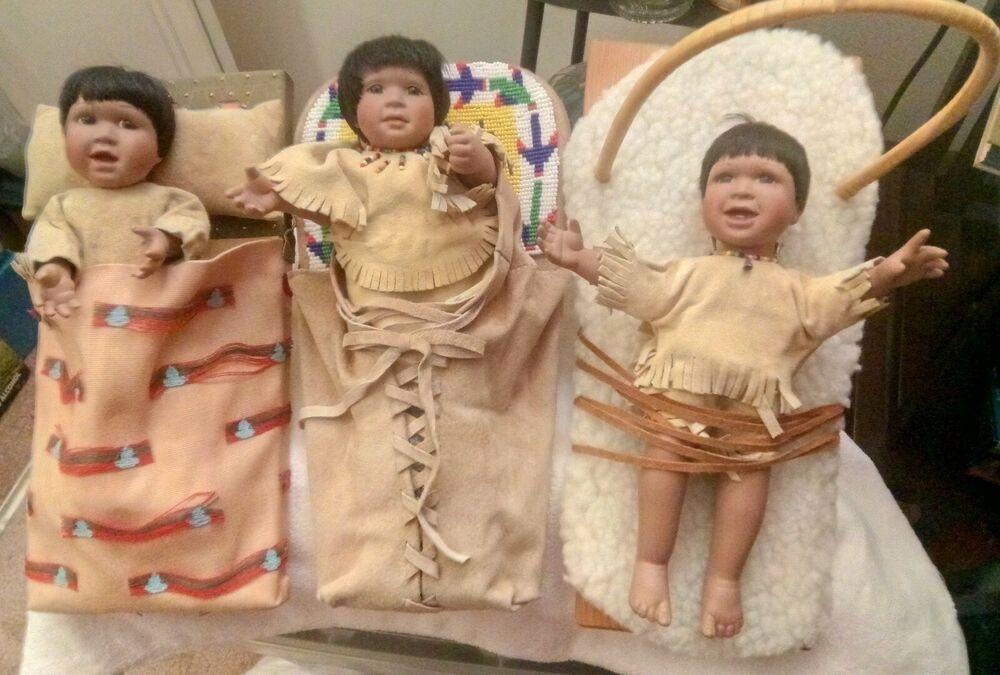 Porcelain Children Babies Indian Dolls Lot of 3 in Bed #indianbeddoll