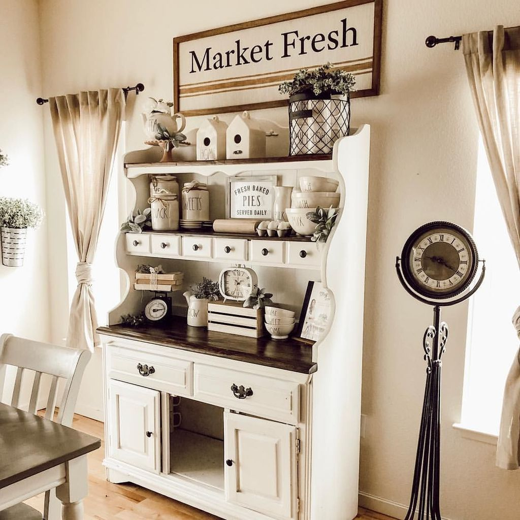34 Inspiring Farmhouse Hutch Decor Ideas For Your Dining Room images
