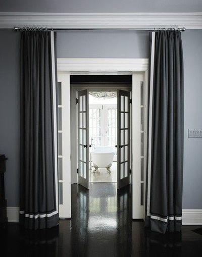 Gray Walls Dark Floor White Trim Grey Curtains Curtains