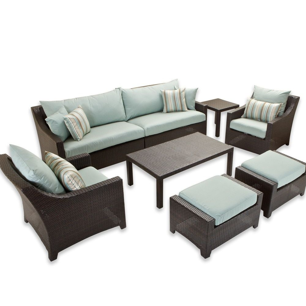 RST Brands Bliss 8 Piece Sofa, Club Chair And Ottomans Patio Set With Accent