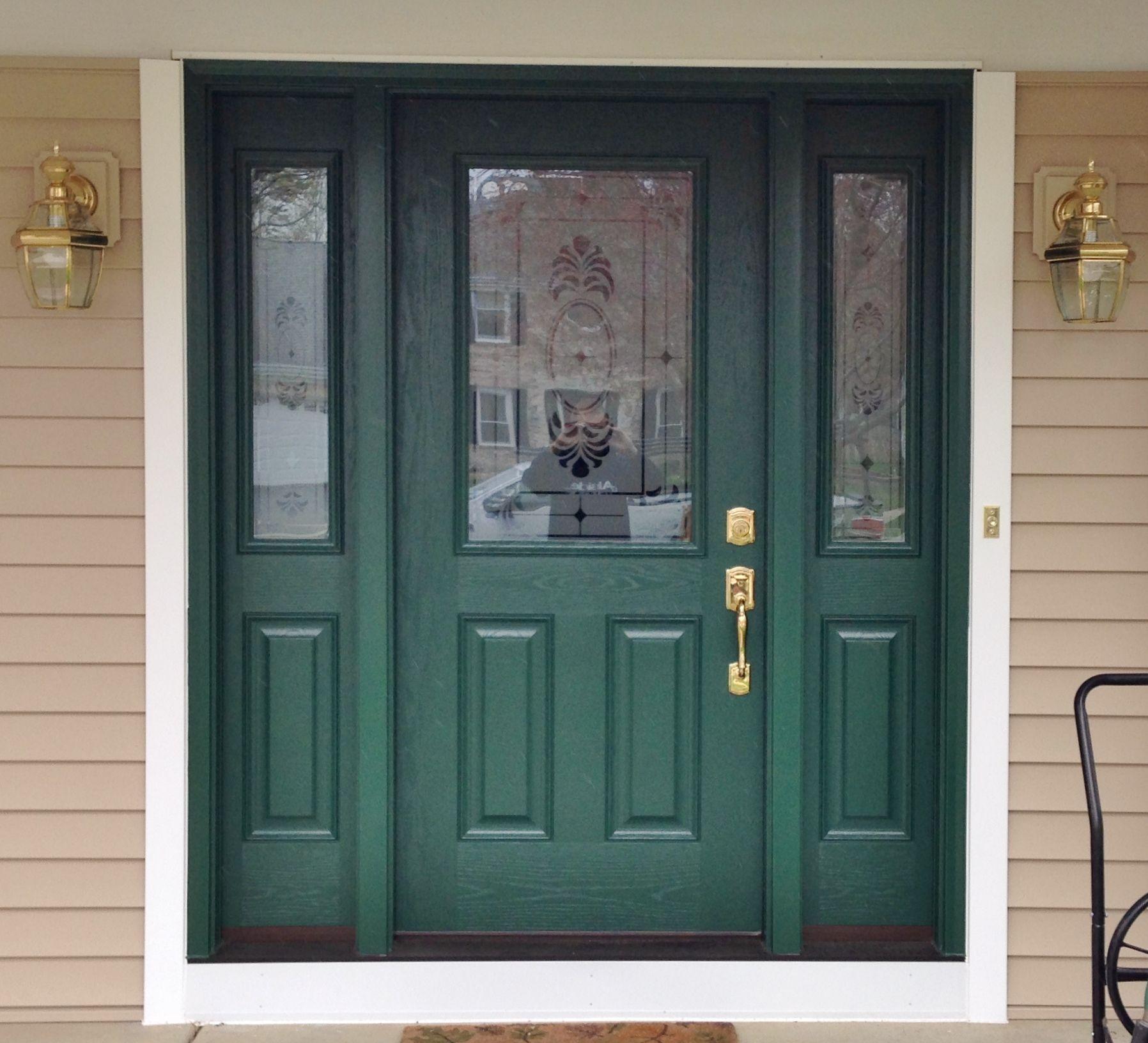 Provia Signet Fiberglass Door 430 Series Oak Exterior Color Forest Green Glass Twilight