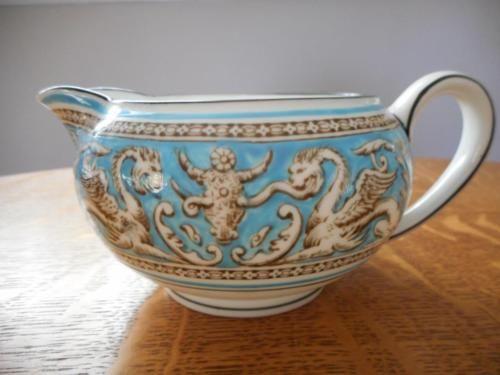 """Wedgwood Florentine Turquoise Stout Creamer, 5½"""" x 2½"""" tall. c1940s. $50.00 at wedgwoodlady.com on ebay, 4/21/16"""