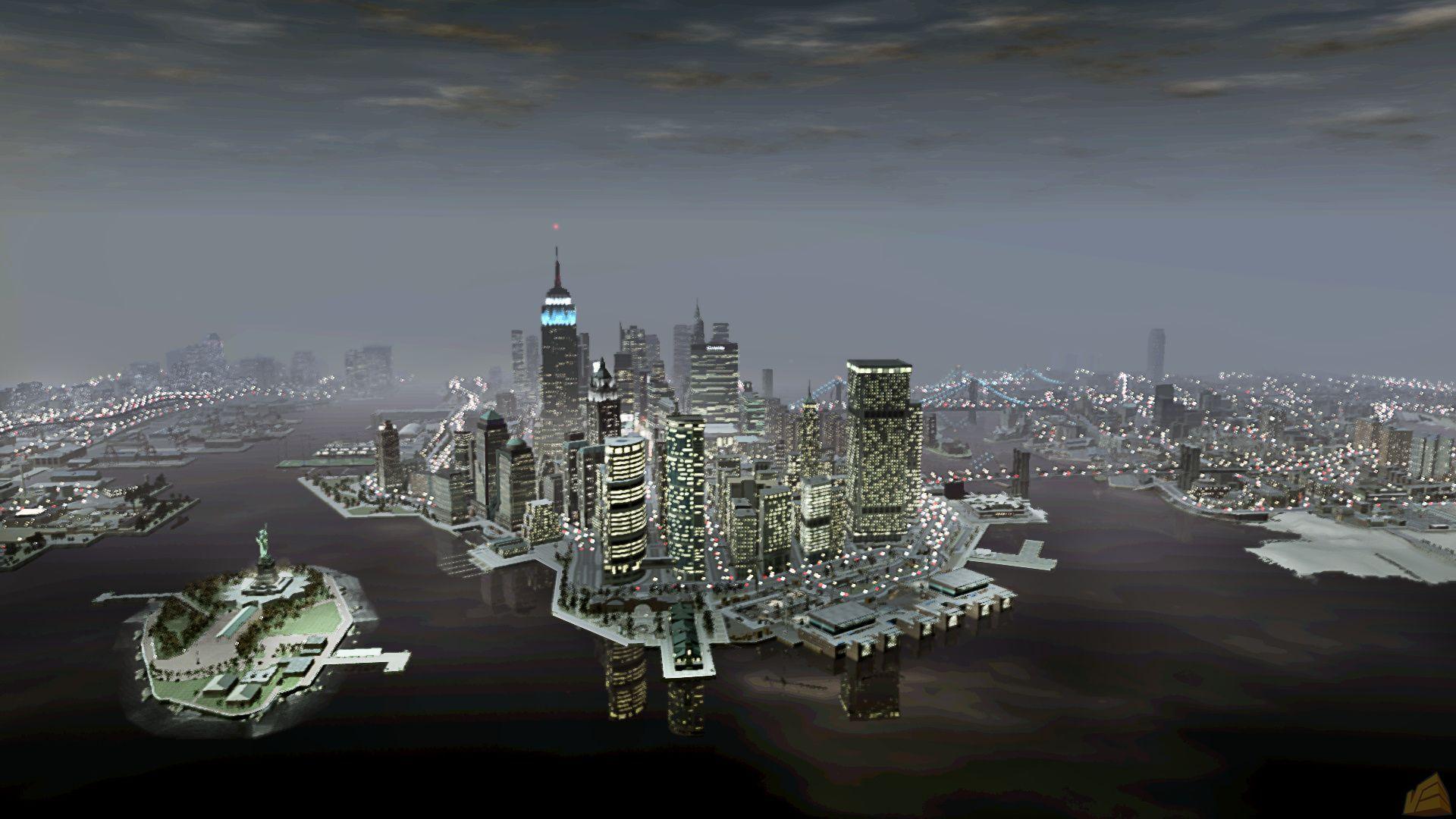 Newyorkcityskylinelibertyislandnight Liberty City Hd Universe Gta Wiki The Grand Theft Auto Wiki Gta