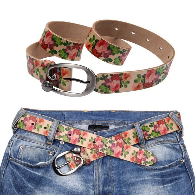 Lady Waist Belt Vintage Leather Waistband Pin Buckle Floral Wide Waist Strap