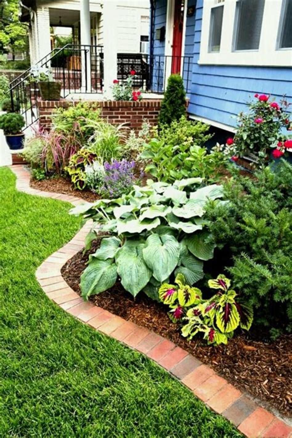 42 Best Front Yard Landscaping Ideas On A Budget Low Maintenance Brick Garden Brick Landscape Edging Mulch Landscaping