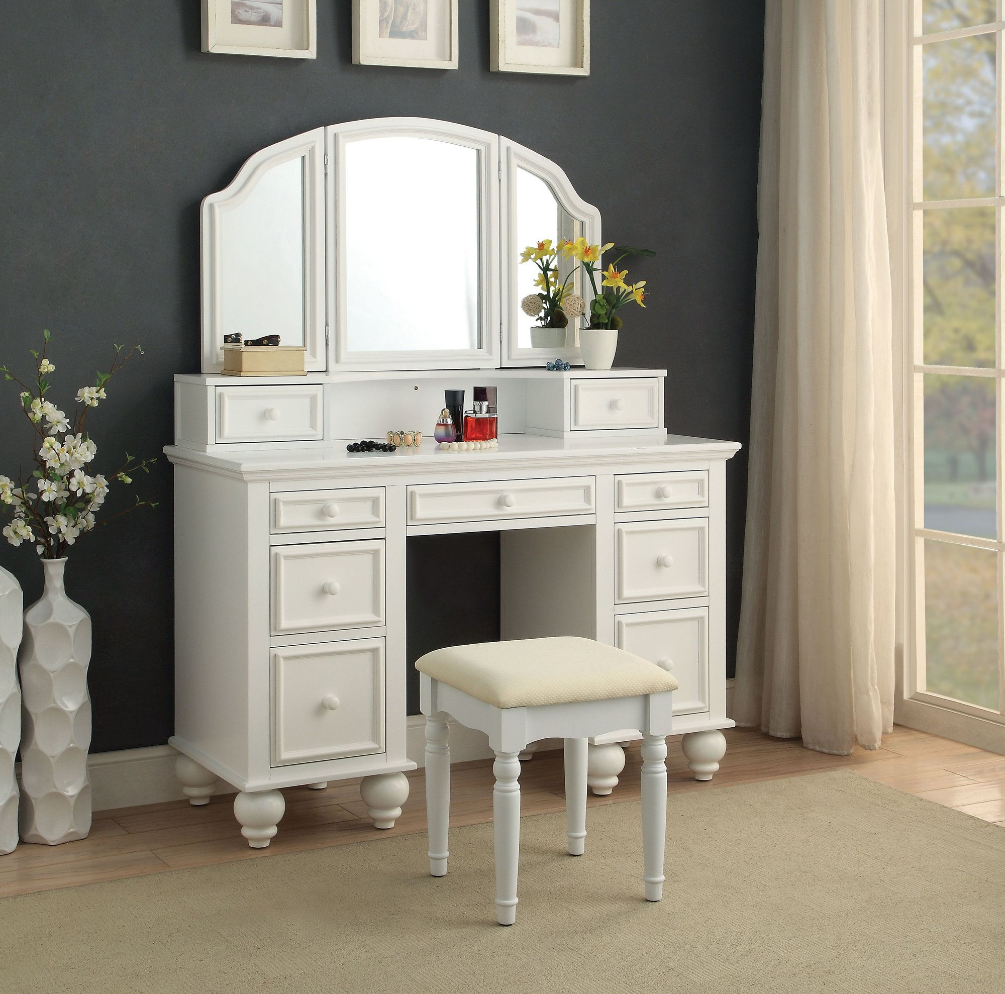 Anthonyson Transitional Vanity Set with Stool and Mirror