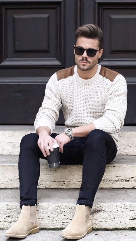 How To Wear Tan Suede Chelsea Boots With Black Jeans In