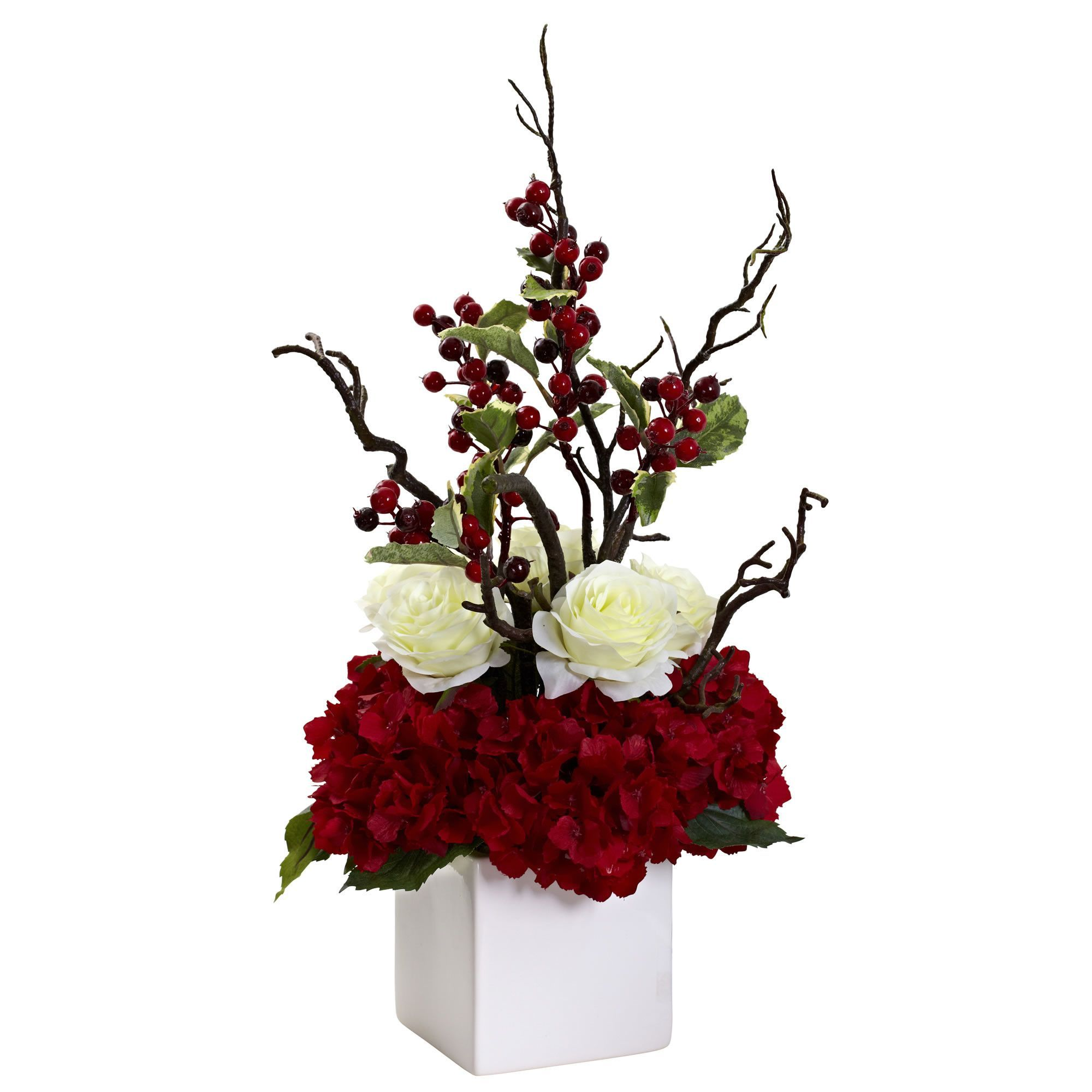 Features: -Bursting with holiday color. -Beautiful white planter ...