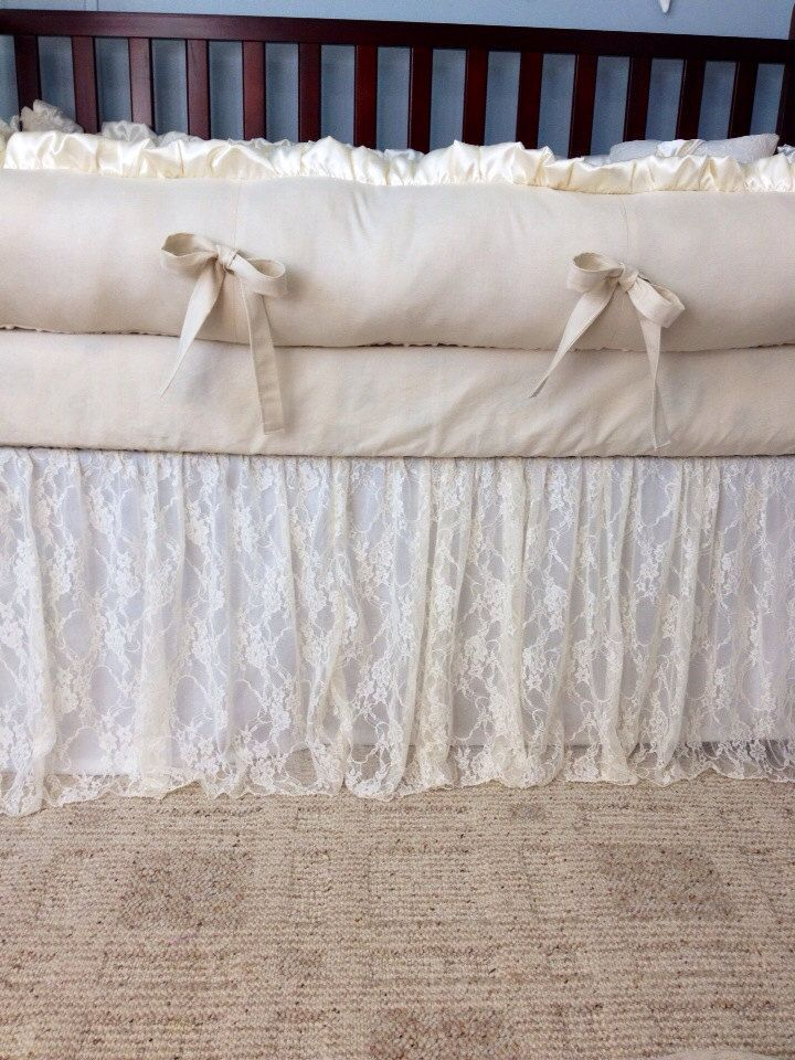 Baby Bedding Crib Bedding Ivory Lace And Ivory Cotton Baby Girl