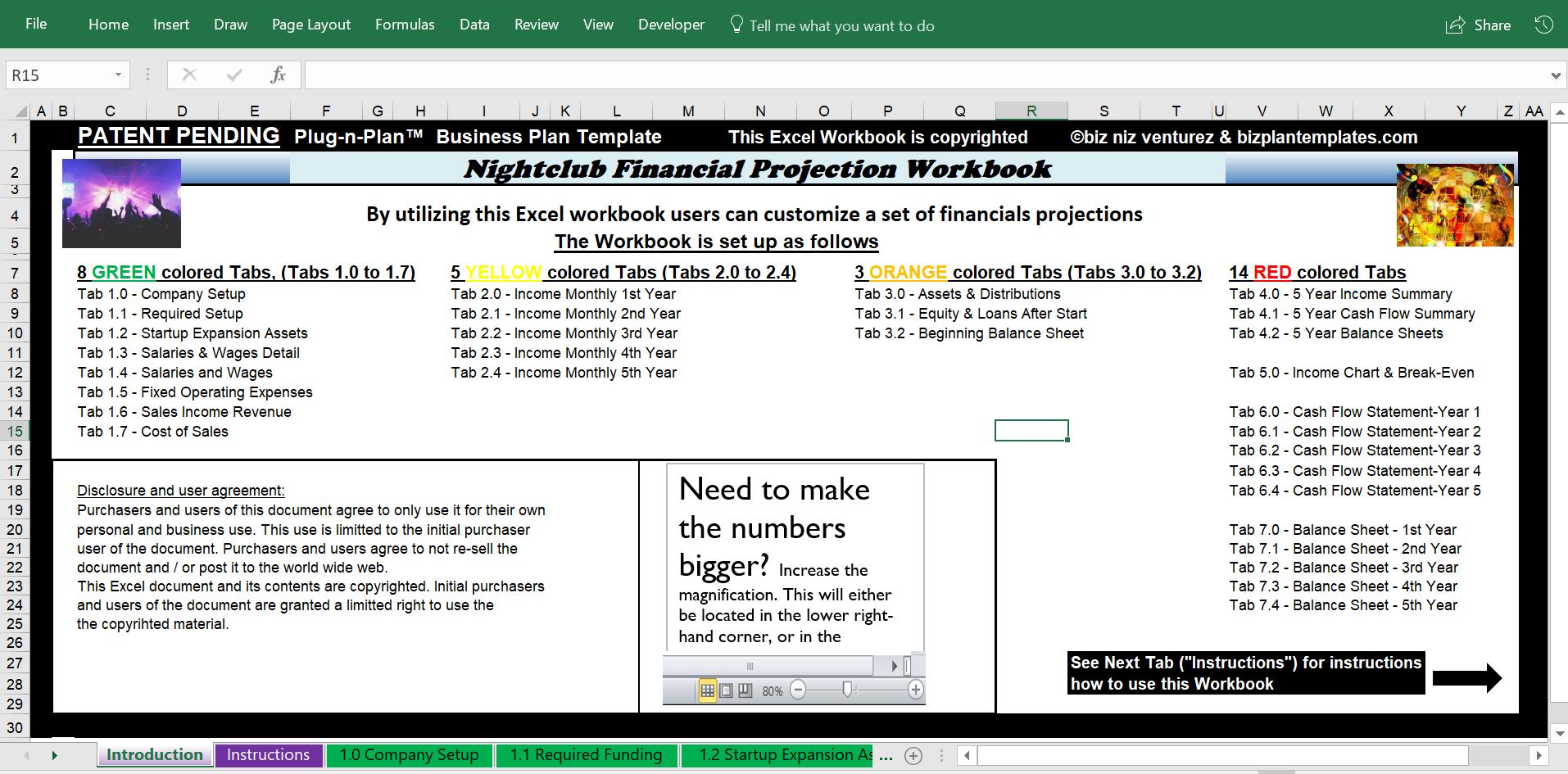 Excel Financial Workbook Business plan