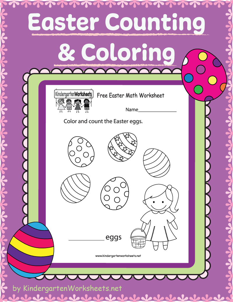 Kindergarten Easter Counting And Coloring Easter Math Worksheets Easter Math Easter Worksheets [ 1035 x 800 Pixel ]