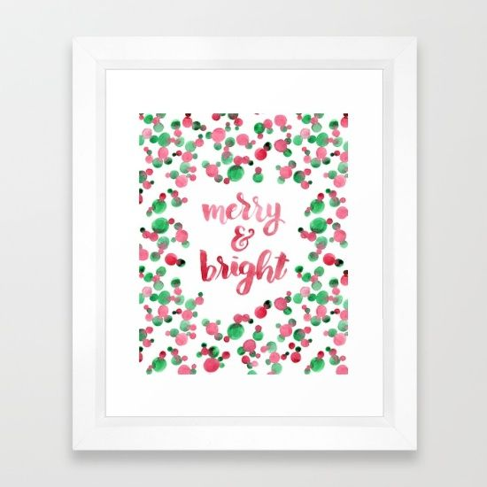 Watercolor Lettering. Merry & Bright. Red and green bubbles. Christmas - Holiday Framed Art Print