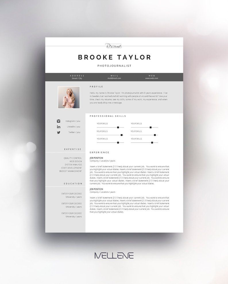 Resume Template 3 Page Cv Template Cover Letter Instant Etsy Resume Template Cv Resume Template Cv Template