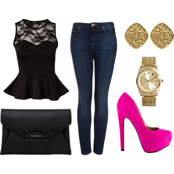 A fashion look from August 2013 featuring Club L tops, Topshop jeans and TaylorSays pumps. Browse and shop related looks.