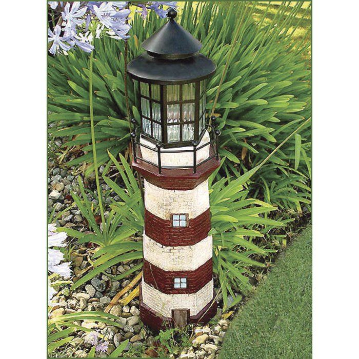 Solar Powered Lighthouse Garden Decor 35in H Red Ivory Www