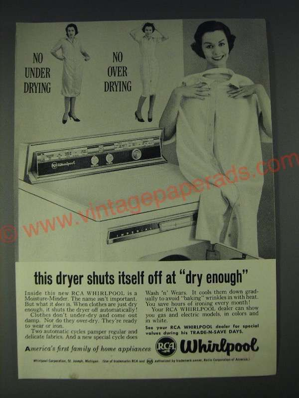 1958 RCA Whirlpool Dryer Ad - This dryer shuts itself off at dry ...