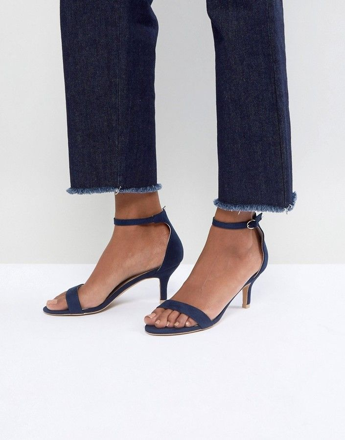 af9177bb17c0 Glamorous Navy Barely There Kitten Heeled Sandals  sandals  kittenheels   navyblue  ad