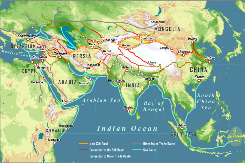 map of silk route The Silk Road And Arab Sea Routes 11th And 12th Centuries Silk map of silk route