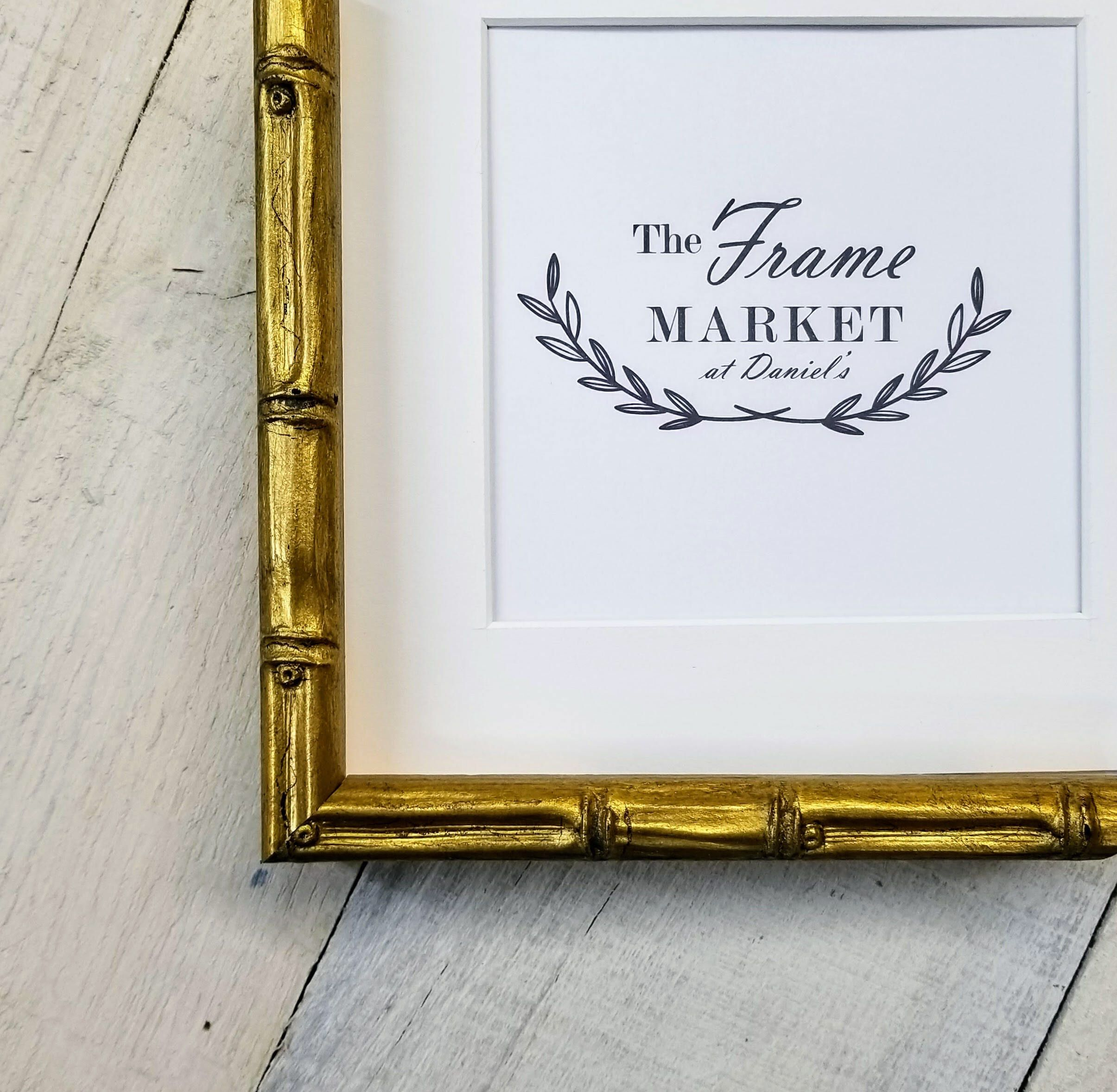 Lucky Bamboo Gold Wood Picture Frame with White Mat 8x10, 9x12 ...