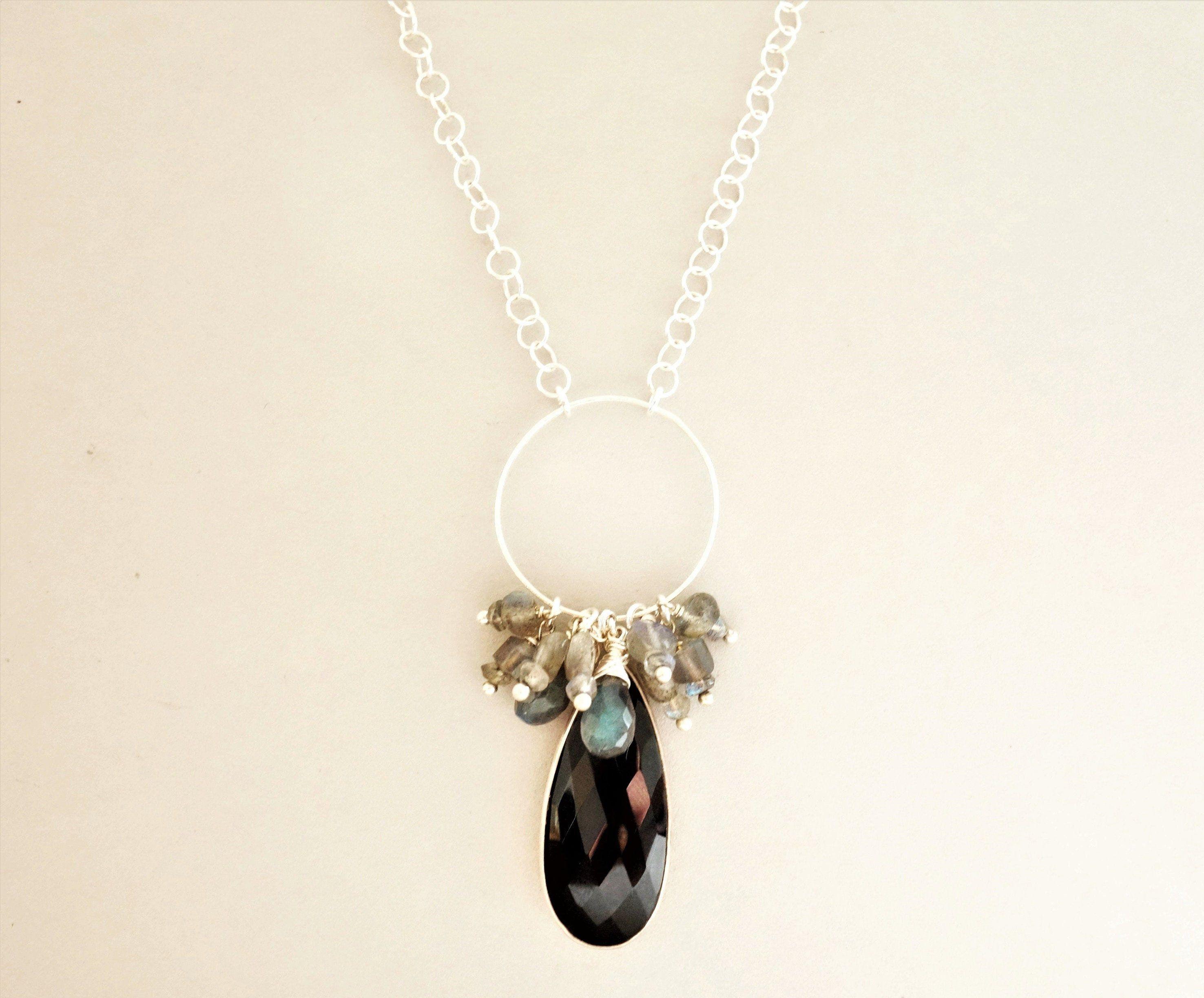 Silberkette mit Onyx Tropfen-Anhänger
