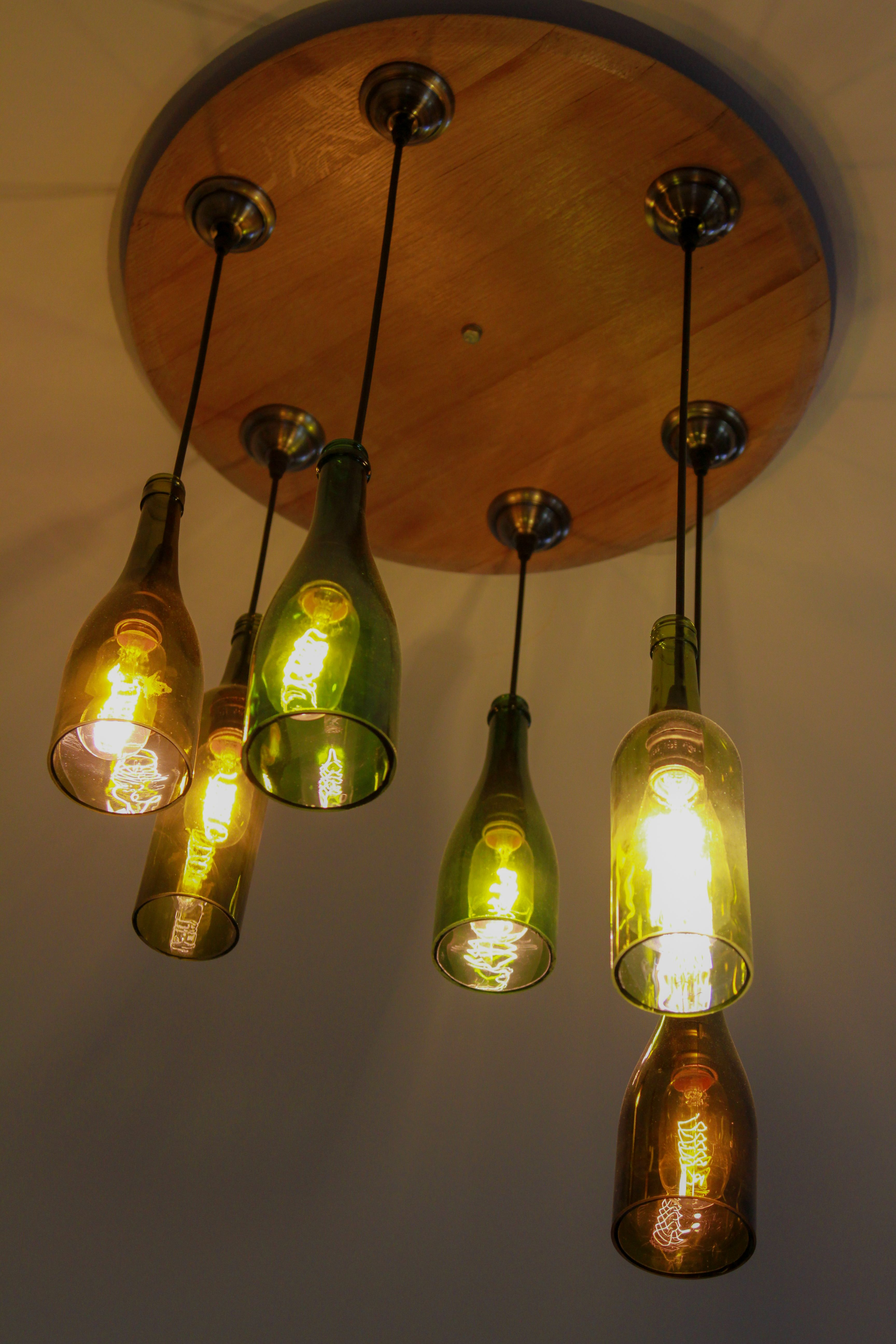 DIY Wine Barrel Lid or Any Piece of Round Wood Chandelier with