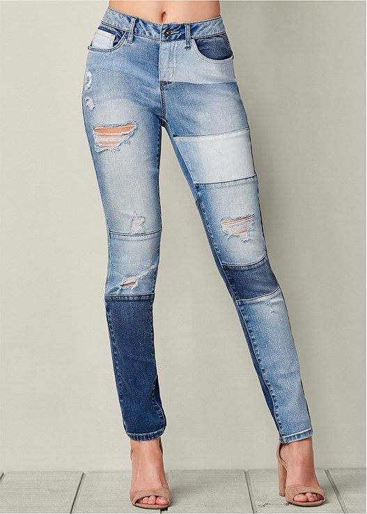 Distressed Patchwork Jeans Products Pinterest Patchwork Jeans