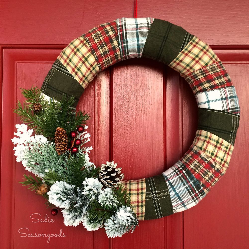 Flannel+Wrapped+Winter+Holiday+Wreath