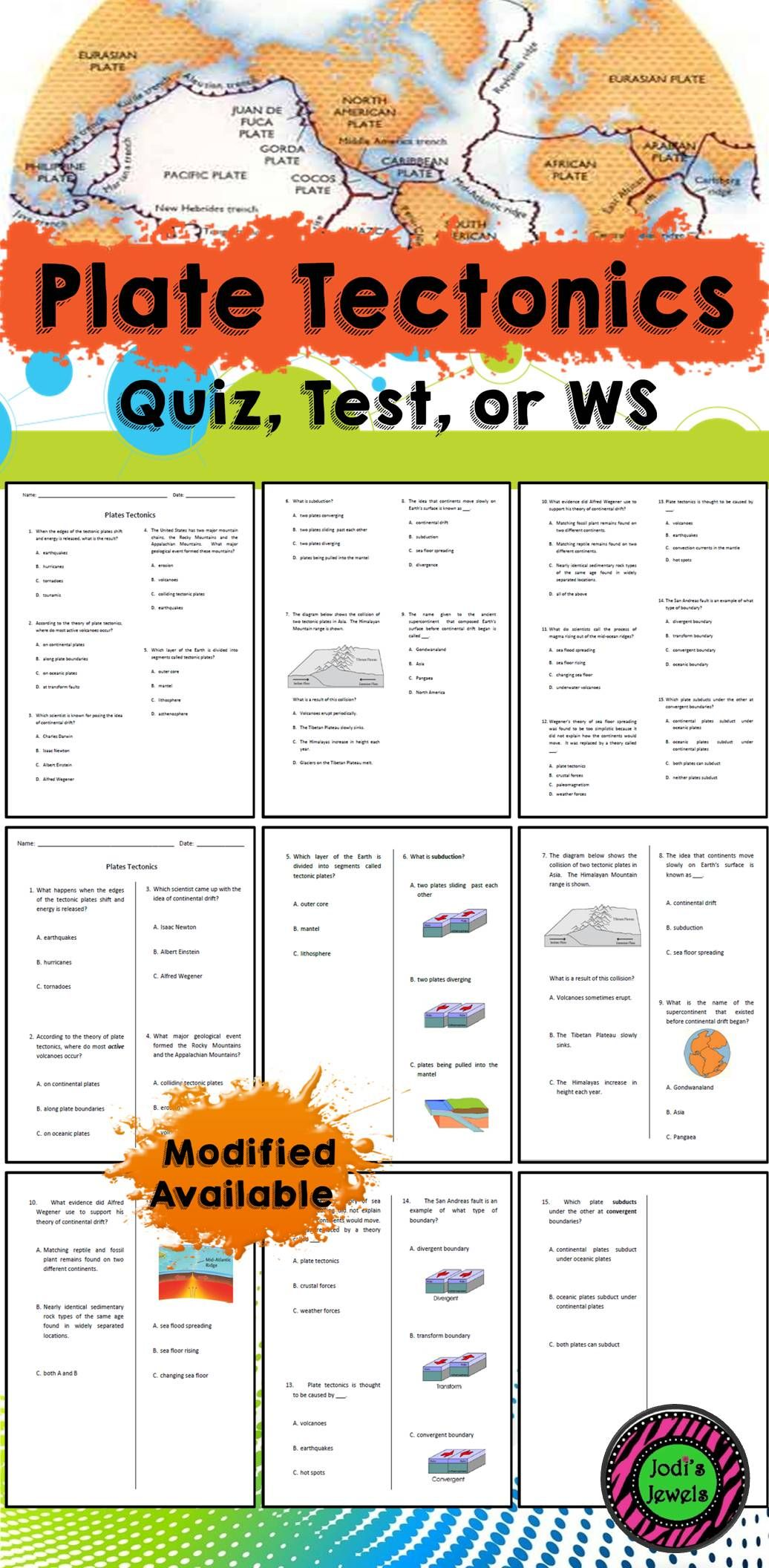 Created For A Middle School Unit About Plate Tectonics Worksheet