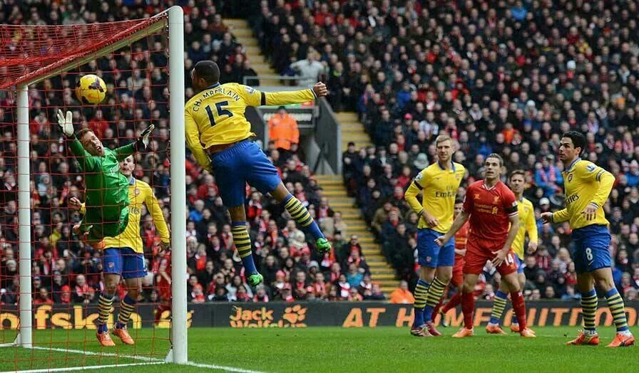 Skrtel scores his second v Arsenal 8th Feb 2014